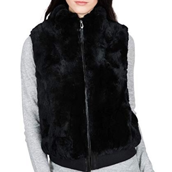 fc8b142c1 oburla Jackets & Coats | 100 Genuine Rex Rabbit Fur Vest S Black ...